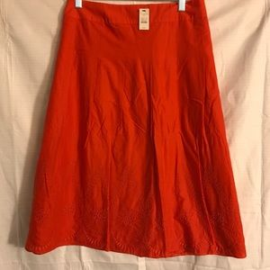Talbots Red Skirt Sz.24 with embroidery detail NWT